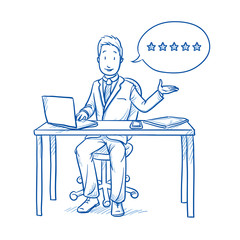 Happy business man, employee at his desk with laptop, tablet and smart phone, with five stars rating speech bubble. Hand drawn line art cartoon vector illustration