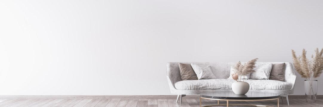 Stylish white modern living room interior, home decor