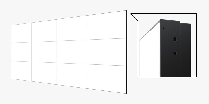 Angle View of 4x3 Video Wall (12 screens) Template. Realistic 3D Render Isolated on White Background.