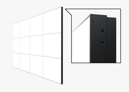High Angle View of 4x3 Video Wall (12 screens) Template. Realistic 3D Render Isolated on White Background.