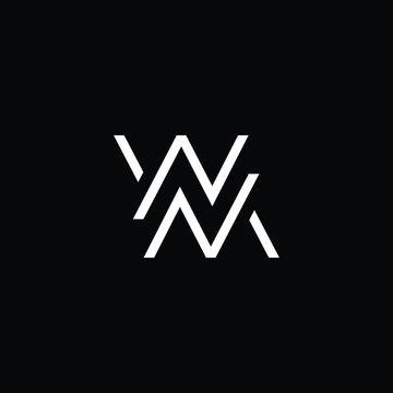 Minimal elegant monogram art logo. Outstanding professional trendy awesome artistic MW WM initial based Alphabet icon logo. Premium Business logo White color on black background