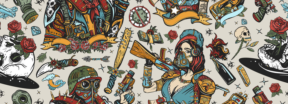 Post apocalypse seamless pattern. Old school tattoo style. Doomsday girl and gun, end of world. Post apocalyptic man warrior, soldier woman. People, weapon of dark future. Nuclear war background