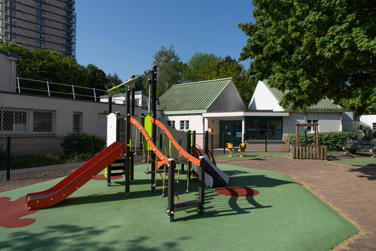 A school and playground with games for children