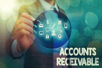 Writing note showing Accounts Receivable. Business concept for Legal Claim of Payment Money Owed to by Debtors
