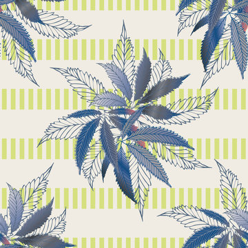 Marijuana leaves seamless vector pattern background. Hemp foliage on striped backdrop. Vintage line art botanical cannabis design. Elegant all over print for wellness, health, self care, home concept
