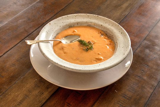 Fresh Seafood meal of Lobster bisque soup in a bowl