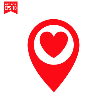 love symbol of location icon symbol Flat vector illustration for graphic and web design.