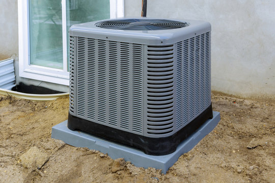 Air conditioning system outside installation on of the house.