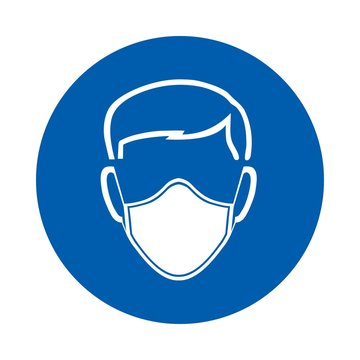 Safety mask must be worn sign or symbol. M016.  Standard ISO 7010.  Vector design isolated on white background .