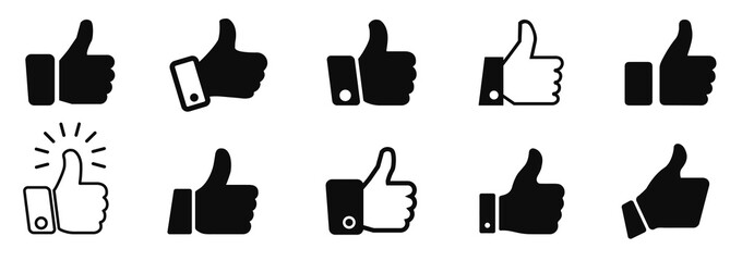 Set thumb up icon, i like it, Yes, good sign – stock vector