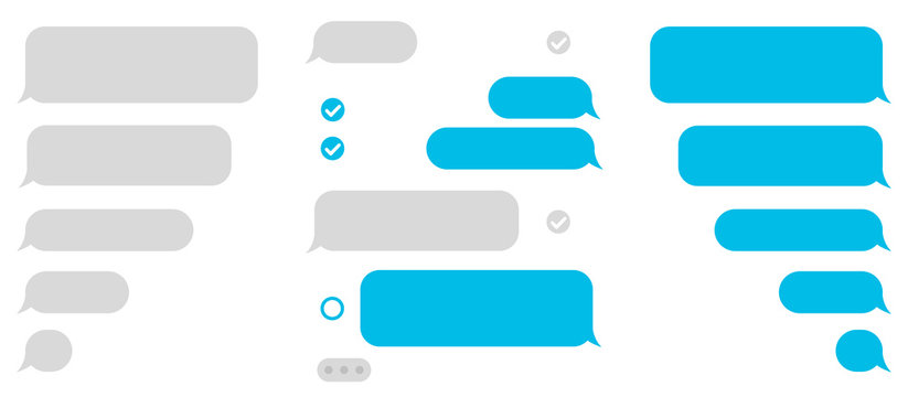 Set message icons, dialogue. Social network chatting window – vector