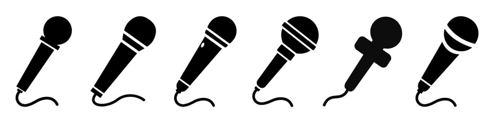 Set microphone icon sign – stock vector