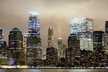 Fog rolling over New York City skyline