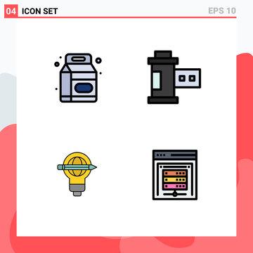 Pack of 4 creative Filledline Flat Colors of beverage, pen, supermarket, photo, bulb