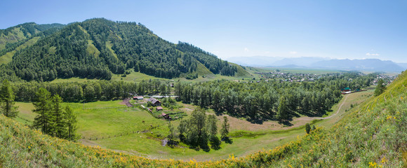 Wall Mural - Village in the mountains of Altai, panoramic summer view