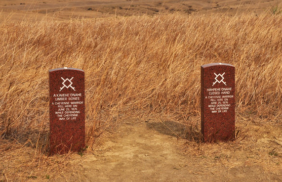 The grave stones mark the final resting place of 2 Cheyenne warriors who fought in the Little Big Horn Battle