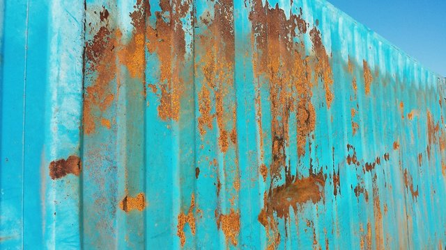 Rusty Blue Metallic Corrugated Wall
