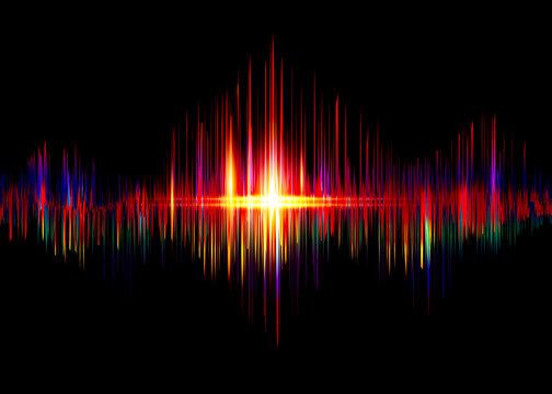 sound wave rhythm background. Spectrum color digital Sound Wave equalizer, technology and earthquake wave concept, design for music industry. Vector isolated on black