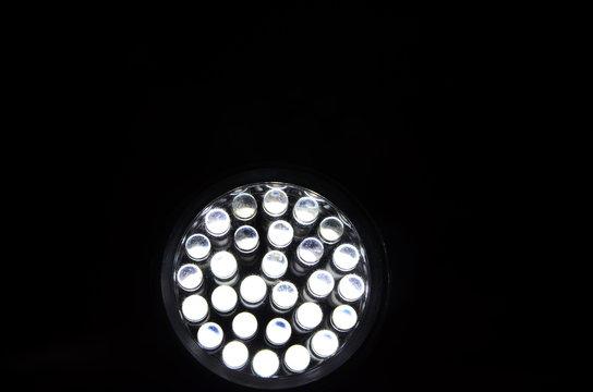 Illuminated Led Lights Against Black Background