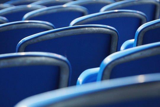 Full Frame Shot Of Blue Chairs
