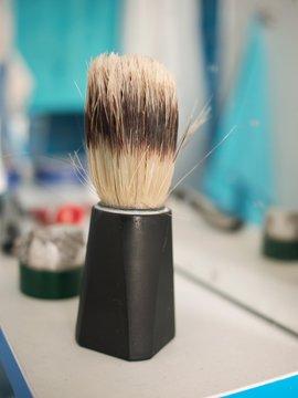 Close-up Of Shaving Brush In Bathroom