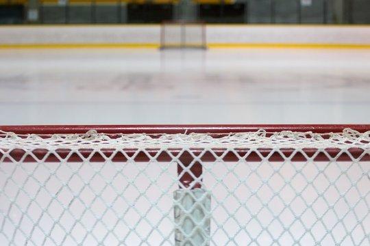 Close-up Of Goal Post At Ice Hockey Rink