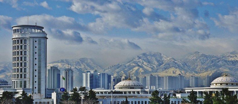 Ashgabat Cityscape Against Mountains