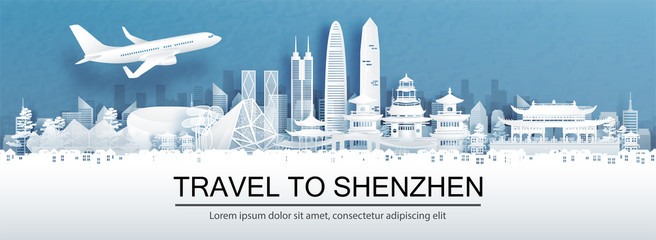 Fototapete - Travel advertising with travel to Shenzhen, China concept with panorama view of city skyline and world famous landmarks in paper cut style vector illustration.