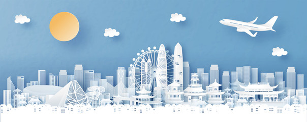Fototapete - Panorama view of Shenzhen, China with temple and city skyline with world famous landmarks in paper cut style vector illustration