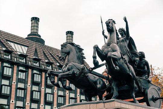 London, UK - November 09, 2020: Statue of Boudicca, warrior queen of the Iceni, Thames Embankment, London. Artist: Derek Anson