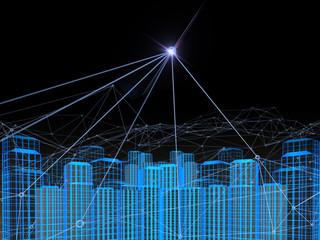 3D Blockchain city , concept network of city or Digital City
