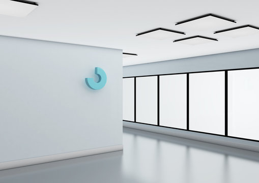 Abstract logo mockup on office wall.