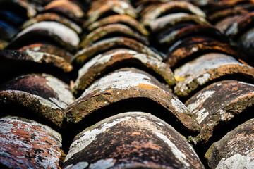 Full Frame Shot Of Weathered Roof Tile