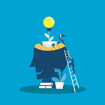 Big head human think growth mindset concept vector