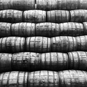 Full Frame Shot Of Barrel Stack