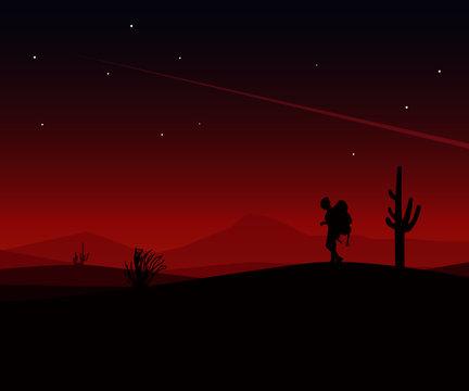 landscape vector art silhouette of a Traveler man in the desert