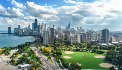Wall Mural - Chicago skyline aerial drone view from above, lake Michigan and city of Chicago downtown skyscrapers cityscape bird's view from park, Illinois, USA