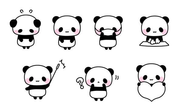 色んなパンダのイラスト・かわいいアイコン