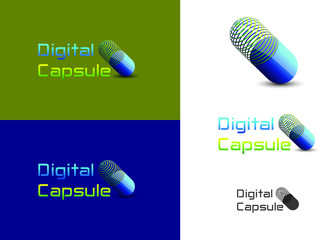 capsule shaped abstract logo designed suitable for pharmaceuticals, medicine, medical institutions, medical research centres, etc.