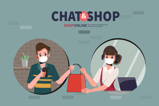Online shopping on smartphone and pick up. Service customer stay home from department store and supermarket.