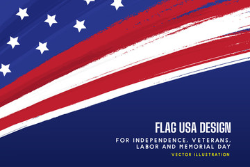 flag USA background design for independence, veterans, labor, memorial day background. vector illustration