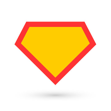 Comic hero icon, symbol shield. Isolated vector on blue background
