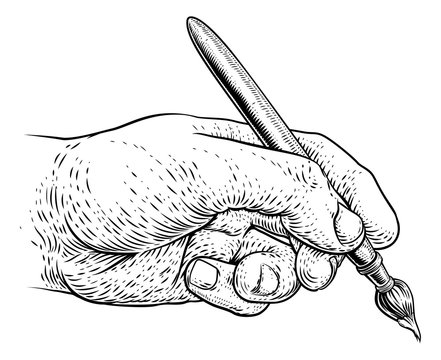 A hand holding an artists paintbrush or paint brush in a vintage engraved or etched woodcut print style