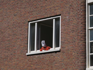 stay home during corona: unrecognizable person laying in the sun in an open window;