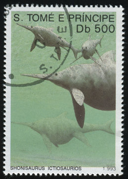 RUSSIA KALININGRAD, 27 MARCH 2019: stamp printed by Sao Tome and Principe shows dinosaur, circa 1993