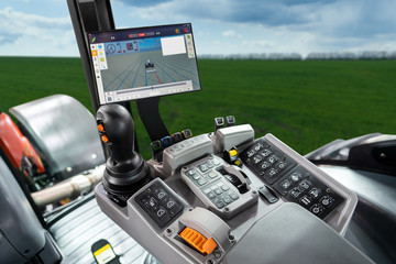 Etiqueta Engomada - Tractor with system of precision agriculture. Smart farming