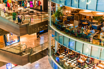 Interior of Paragon Shopping Centre at Orchard Rd in Singapore