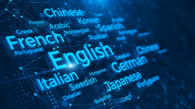 Languages of the world word cloud on blue background - languages learn and translate education concept - 3d rendering