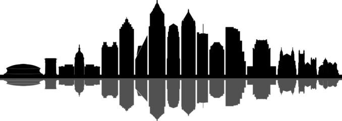Fototapete - ATLANTA GEORGIA City Skyline Silhouette Cityscape Vector