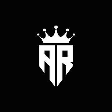 AR logo monogram emblem style with crown shape design template